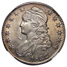 1832 Ngc AU55 Small Letters Capped Bust Half Dollar