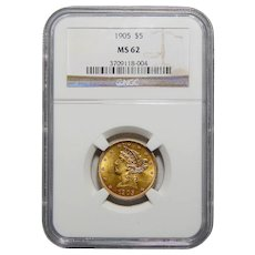 1905 Ngc MS62 $5 Liberty Head Gold