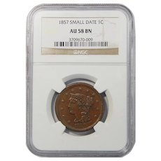1857 NGC AU58BN Small Date Braided Hair Large Cent