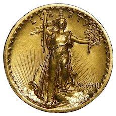 1907 Ngc PR65 $20 High Relief - Wire Rim St. Gaudens Gold
