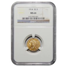 1914 Ngc MS64 $2.50 Indian Gold