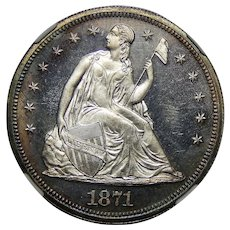 1871 Ngc PF65CAM Liberty Seated Dollar