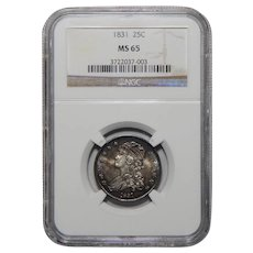 1831 Ngc MS65 Small Letters Capped Bust Quarter
