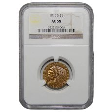 1910-S Ngc AU58 $5 Indian Gold