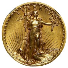 1907 Ngc MS62 $20 High Relief-Wire Edge St. Gaudens Gold