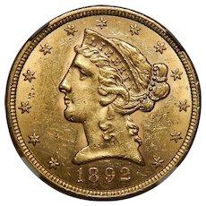 1892-S Ngc MS61 $5 Liberty Head Gold