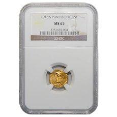 1915-S Ngc MS65 $1 Panama-Pacific Gold