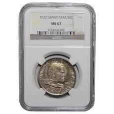 1922 Ngc MS67 Grant Star Half Dollar