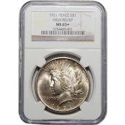 1921 Ngc MS65+ High Relief Peace Dollar