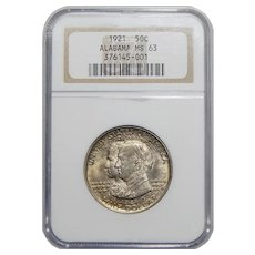 1921 Ngc MS63 Alabama Half Dollar