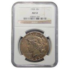 1928 Ngc AU53 Peace Dollar