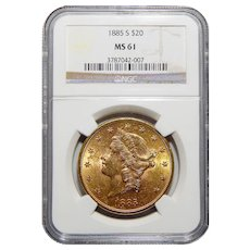 1885-S Ngc MS61 $20 Liberty Head Gold