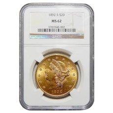 1892-S Ngc MS62 $20 Liberty Head Gold