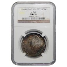 1834 Ngc MS65+Large Date, Large Letter Capped Bust Half Dollar