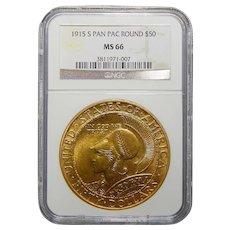 1915-S Ngc MS66 $50 Pan-Pac Round Gold