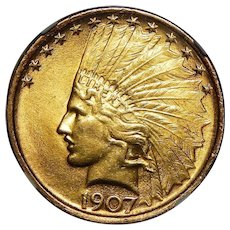 1907 Ngc MS64 $10 No Motto Indian Gold (Hilt Collection)