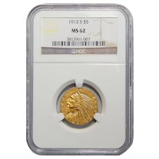 1913-S Ngc MS62 $5 Indian Gold