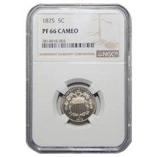 1875 Ngc PF66 Cameo Shield Nickel