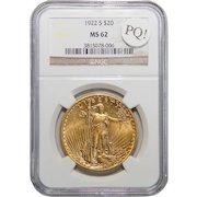 1922-S Ngc MS62 PQ! $20 St Gauden