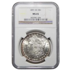 1891-CC Ngc MS65 Morgan Dollar