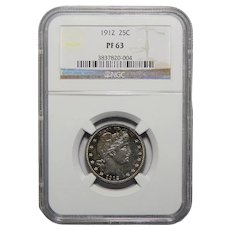 1912 Ngc PF63 Barber Quarter