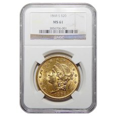 1868-S Ngc MS61 $20 Liberty Head Gold