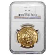 1868-S Ngc MS61 $20 Liberty Head Gold