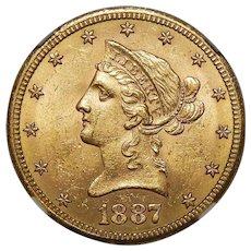 1887-S Ngc MS63 $10 Liberty Head Gold