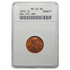 1972 Anacs MS63RB Doubled Die Obverse Lincoln Memorial Cent