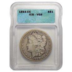 1893-CC Icg VG8 Morgan Dollar