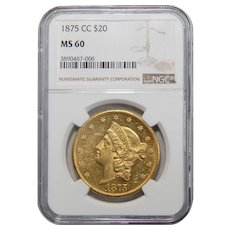 1875-CC Ngc MS60 $20 Liberty Head Gold