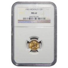 1903 Ngc MS62 $1 Louisiana Purchase, McKinley Gold