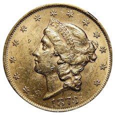 1873 Ngc MS60 $20 Open 3 Liberty Head Gold