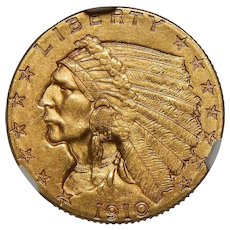 1910 Ngc MS64 $2.50 Indian Gold