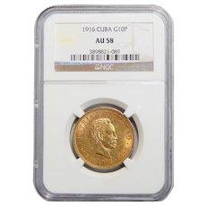 1916 Ngc AU58 Cuba Gold 10 Pesos