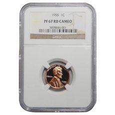 1955 Ngc PF67RD Cameo Lincoln Wheat Cent