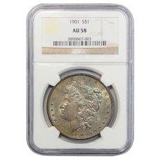 1901 Ngc AU58 Morgan Dollar