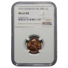 1972 Ngc MS63RB Doubled Die Obverse Lincoln Memorial Cent