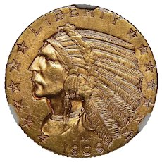 1909 Ngc MS63 $5 Indian Gold