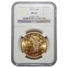 1903-S Ngc MS63 $20 Liberty Head Gold