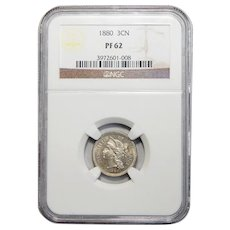 1880 Ngc PF62 Three-Cent Copper Nickel