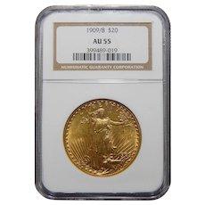 1909/8 Ngc AU55 $20 Saint Gaudens