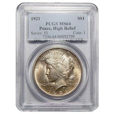 1921 Pcgs MS64 High Relief, Peace Dollar