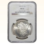 1884-CC Ngc MS66 Morgan Dollar