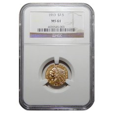 1913 Ngc MS61 $2.50 Indian Gold