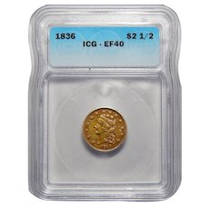 1836 Icg XF40 $2.50 Block 8 Liberty Head Gold