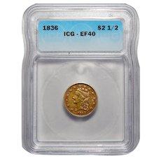 1836 Icg XF40 $2.50 Block 8 Liberty Head Gold