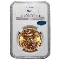 1923-D Ngc/Cac MS65+ $20 Saint Gaudens