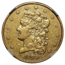 1834 Ngc AU53 Crosslet 4 $5 Classic Head Gold