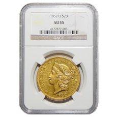 1852-O Ngc AU55 $20 Liberty Head Gold